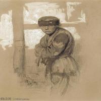 【欣赏级】SMR14154410-俄罗斯画家列宾Ilya Repin手绘素描速写作品图片素描手稿高清图片资料-8M-1399X1999