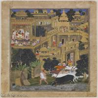 【打印级】YD12159606-印度画Kesu Kalan and Miskin   The Lord Krishna in the Golden City Harivamsha   Google A