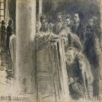【欣赏级】SMR14154406-俄罗斯画家列宾Ilya Repin手绘素描速写作品图片素描手稿高清图片资料-10M-2200X1679