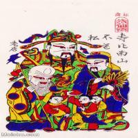 【印刷级】MSH1006民俗画朱仙镇年画福禄寿星图片-40M-2894X4926