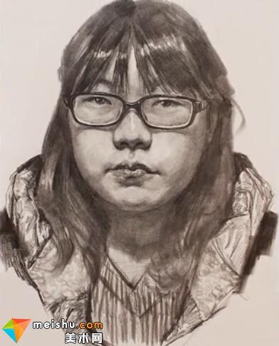美术高考视频教学--素描栾树圆脸眼睛女头像