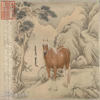【印刷级】GH6061763古画[清]王致诚-十骏图册(9)-动物-马匹册页图片-49M-4818X3588