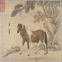 【印刷级】GH6061758古画[清]王致诚-十骏图册(4)-动物-马匹册页图片-45M-4422X3612