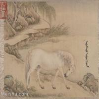【印刷级】GH6061756古画[清]王致诚-十骏图册(2)-动物-马匹册页图片-45M-4416X3630