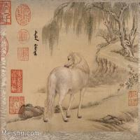 【印刷级】GH6061754古画[清]王致诚-十骏图册(1)-动物-马匹册页图片-48M-4440X3809