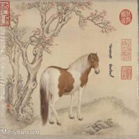 【印刷级】GH6061759古画[清]王致诚-十骏图册(5)-动物-马匹册页图片-45M-4416X3630