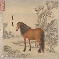 【印刷级】GH6061755古画[清]王致诚-十骏图册(10)-动物-马匹册页图片-46M-4440X3636