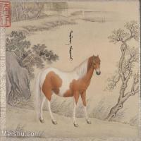 【印刷级】GH6061760古画[清]王致诚-十骏图册(6)-动物-马匹册页图片-46M-4446X3618