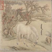 【印刷级】GH6061762古画[清]王致诚-十骏图册(8)-动物-马匹册页图片-45M-4410X3642