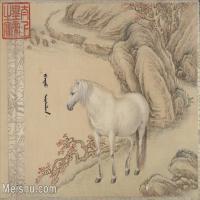 【印刷级】GH6061761古画[清]王致诚-十骏图册(7)-动物-马匹册页图片-49M-4836X3576