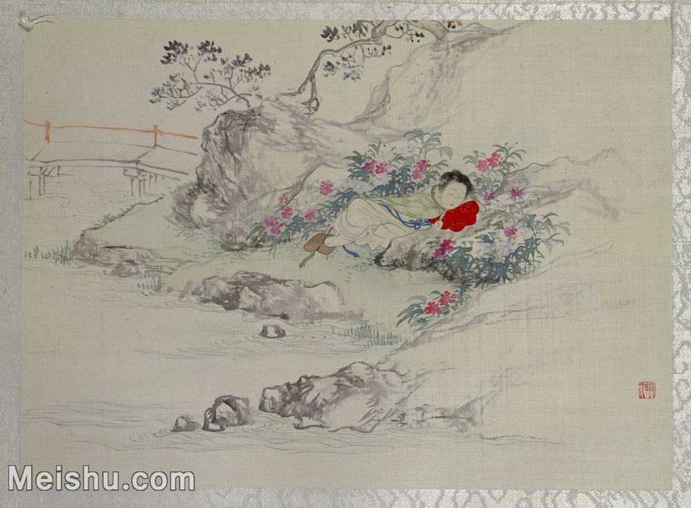 【印刷级】GH6061222古画清-费丹旭-金陵十二钗-人物-花卉-湘云醉卧芍药丛册页图片-47M-4767X3507.