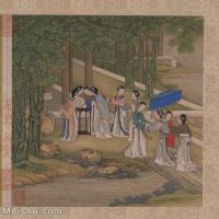 【印刷级】GH6061148古画陈枚--女人-清朝--桐荫乞巧册页图片-55M-4091X4780