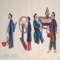 【欣赏级】GH6062969古画清代人物场景工笔纪实图册纺线册页图片-14M-2940X1736