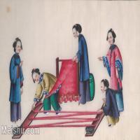 【欣赏级】GH6062970古画清代人物场景工笔纪实图册纺线成捆册页图片-14M-2881X1719