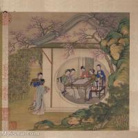 【印刷级】GH6061147古画陈枚---女人-清朝-闲亭对弈册页图片-57M-4087X4879_56983858