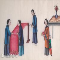 【欣赏级】GH6062959古画清代人物场景工笔纪实图册妇女纺线册页图片-14M-2931X1733