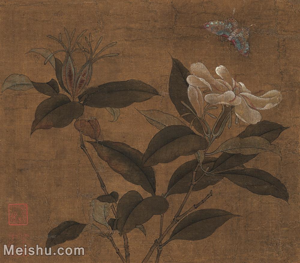 【欣赏级】GH6080349古画花卉鲜花鸟栀子蝴蝶-上海博物馆藏品-28.5x25-34x30-小品图片-19M-240