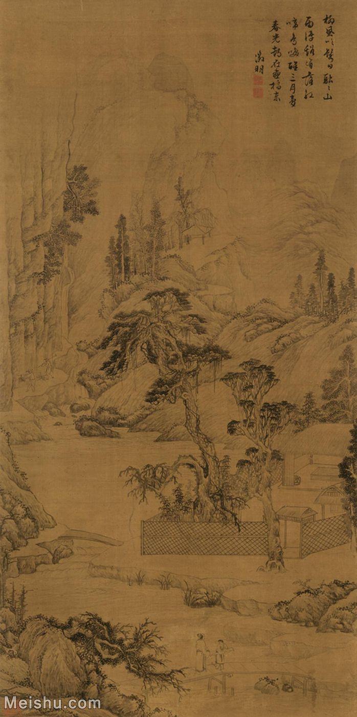 【打印级】GH6088155古画山水风景携琴访友图-明-文徵明-绢本-30x60-茅屋拜访山林立轴图片-44M-2558
