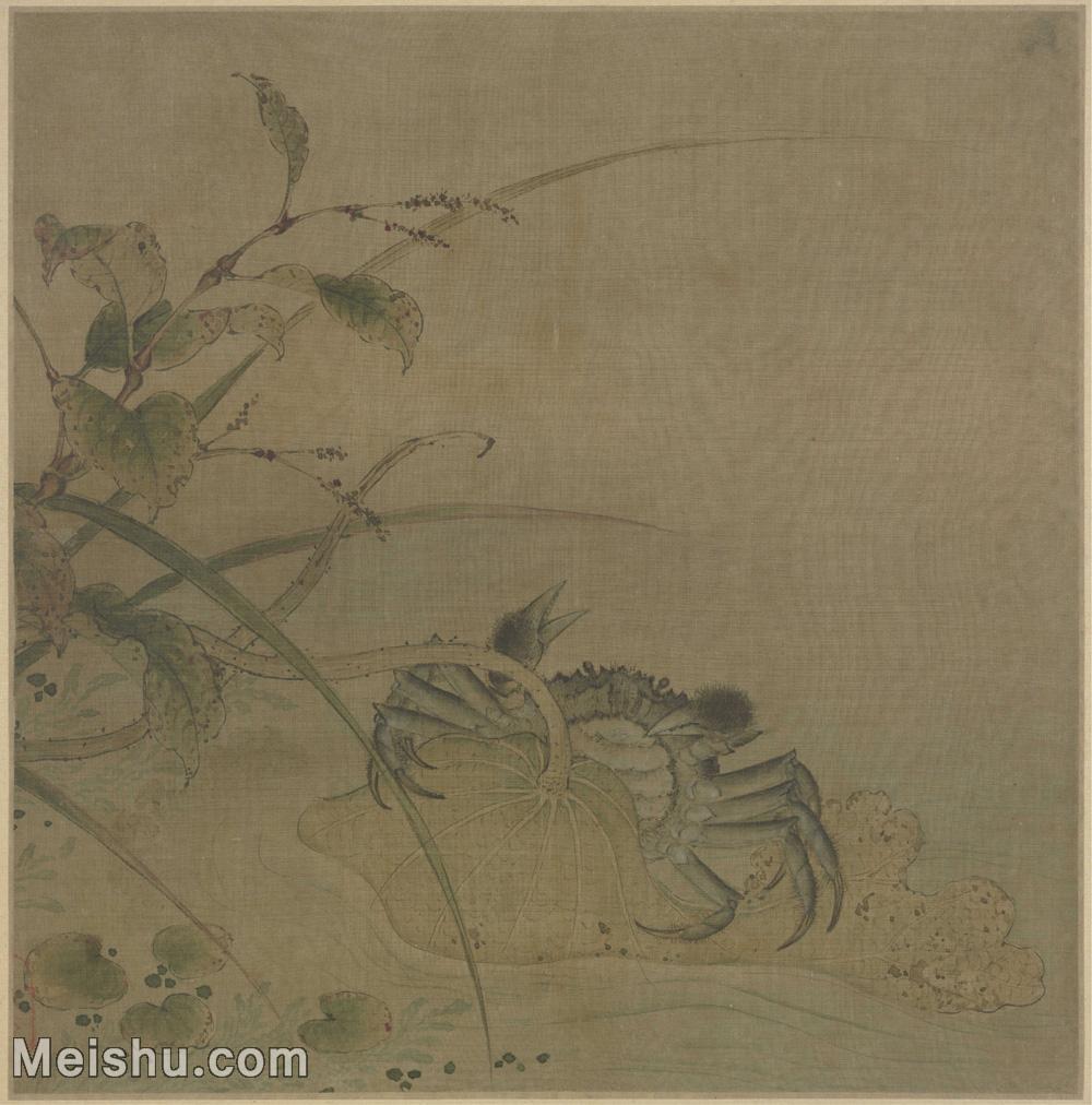 【超顶级】GH6080160古画动物荷蟹图页-宋-佚名国画水墨小品-30x30.5-110x111.5-花卉-荷花-螃蟹