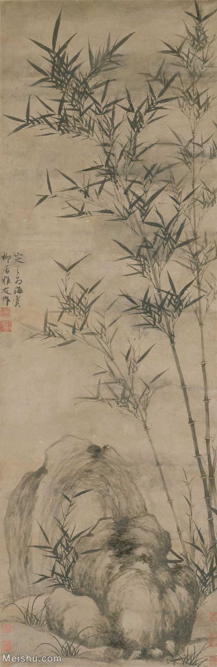 【超顶级】GH6085319古画树木植物-竹石图-元-顾安-纸本-30x92-90x276-墨竹子立轴图片-625M-8