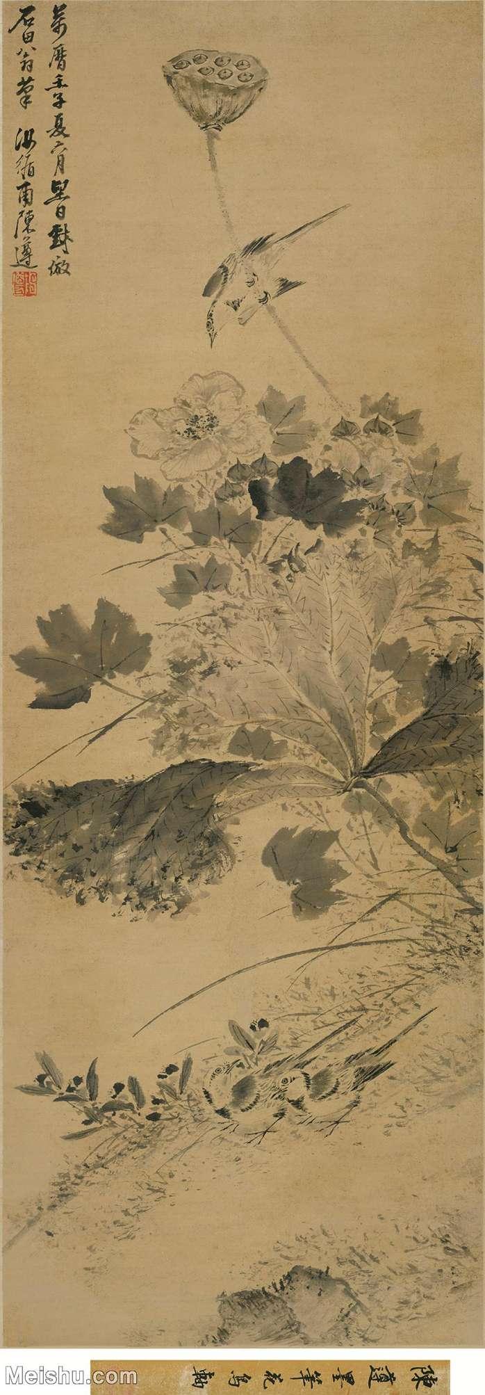 【超顶级】GH6085577古画树木植物-陈遵-芙蓉鹡鸰图立轴图片-191M-4400X12622_28367284.j