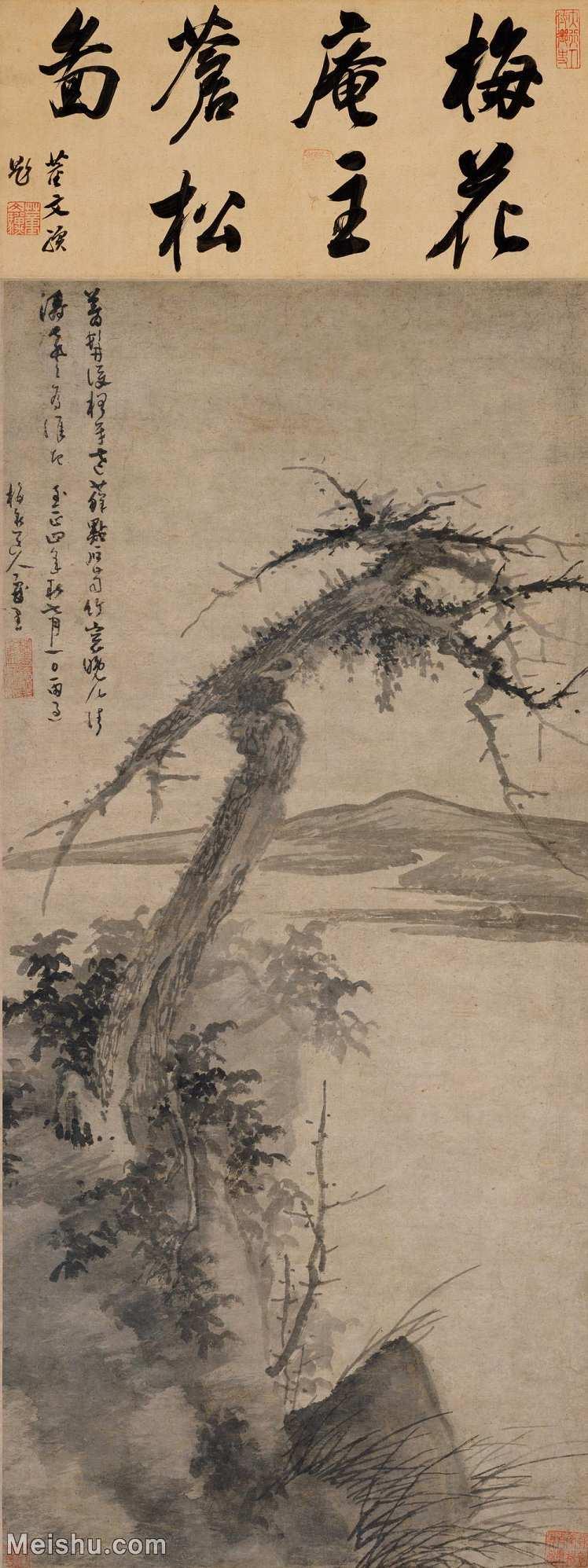 【超顶级】GH6085329古画树木植物-松石图-元-吴镇-纸本-30x80-110x293-山水-古木枯木河畔河边河流