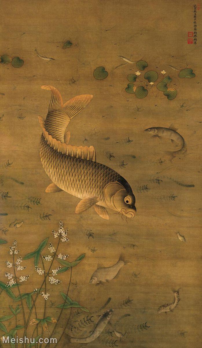 【超顶级】GH6085060古画动物明 缪辅 鱼藻图 绢本171.3x99.1立轴图片-772M-10184X17535