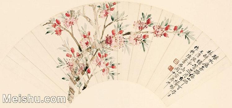 【印刷级】GH6070153古画花鸟雀鲜花卉恽寿平-27.3x58.3扇面图片-146M-8043X3766_57376