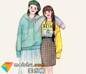 「水彩人物绘」闺蜜-美术高考视频教学
