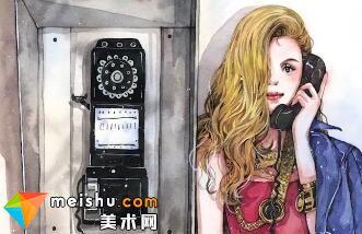 「水彩 我的水色时光」冷傲电话亭-美术高考视频教学