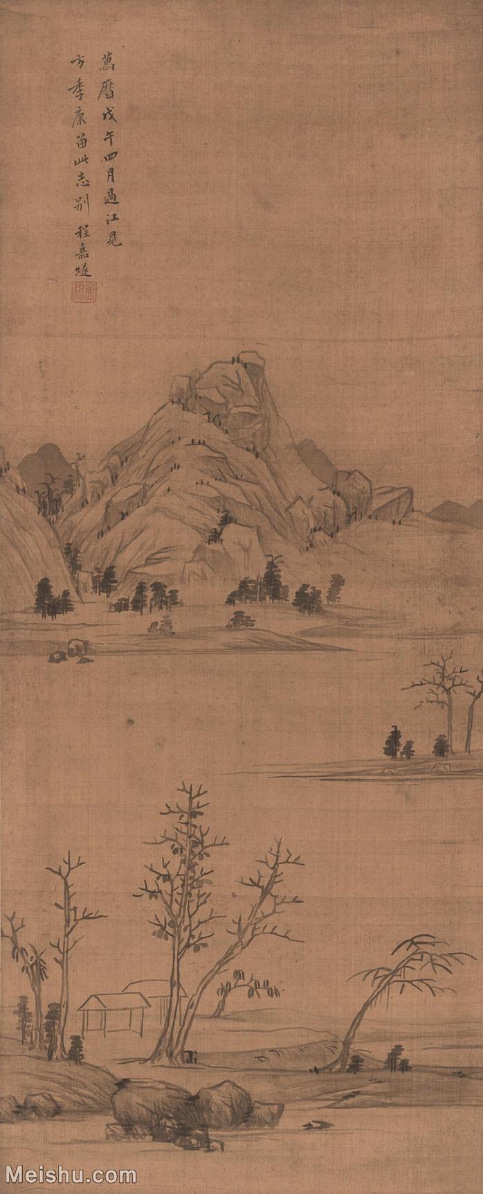 【打印级】GH6088217古画山水风景远山古屋图-明-程嘉燧-绢本-30x74-50x123.5-河洲远山林立轴图片-