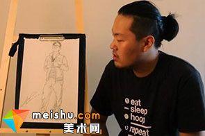 人物速写自信哥站姿男-美术高考视频