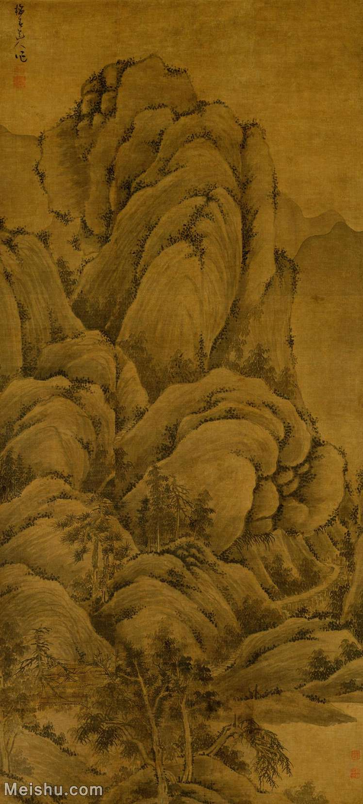 【超顶级】GH6088332古画山水风景溪山高隐图-元-吴镇-绢本-30x66.5-110x243-深山高山林立轴图片-