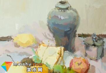 水粉静物赵亮蓝罐-美术高考视频教学