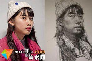 素描头像女青年-美术高考视频教学
