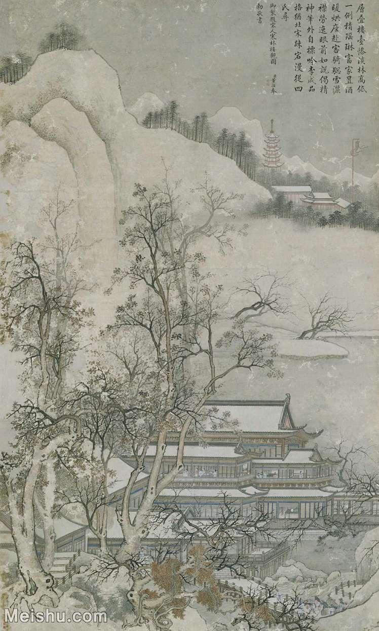 【打印级】GH6088070古画山水风景寒林楼观图-清-谢遂-纸本-30x50-40x66.5-庭院落园林山林立轴图片-