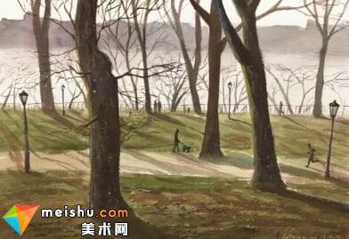 「水彩风景」河畔公园-手绘帮
