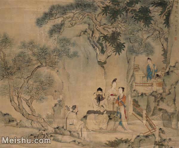【打印级】GH7280381古画人物清 费丹旭 停琴听阮图镜片图片-42M-4238X3498.jpg
