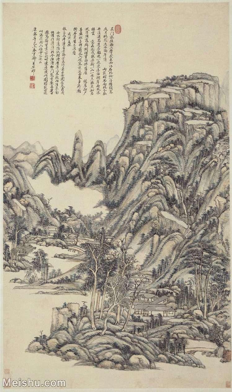 【印刷级】GH6088711古画山水风景清-王原祁-送别诗意图轴-北京故宫博物院立轴图片-69M-3811X6412_5