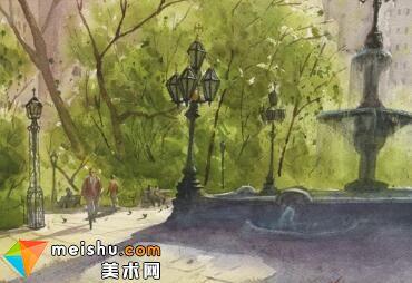 「水彩风景」纽约市政厅公园-手绘帮