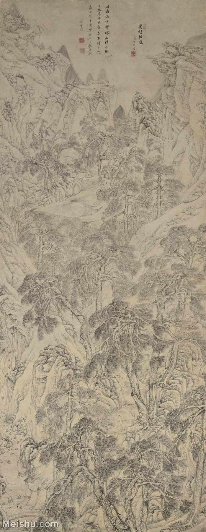 【超顶级】GH6088108古画山水风景四万图册之万壑松风-明-文伯仁-纸本-原73.5x188.1-雄山林立轴图片-2