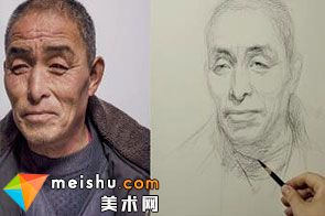 素描头像李昊泽男老年-美术高考视频教学