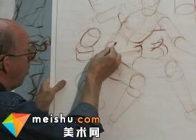 人体圆柱形构成素描-人体素描示范18