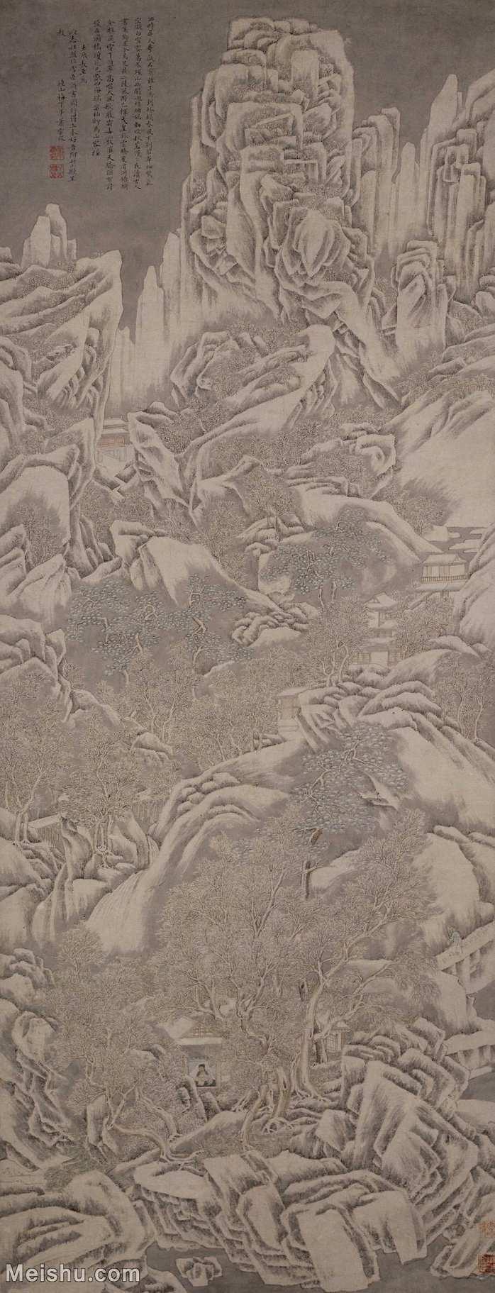 【打印级】GH6088169古画山水风景雪岳读书图-明-萧云从-纸本-30x78-高山林立轴图片-57M-2770X72
