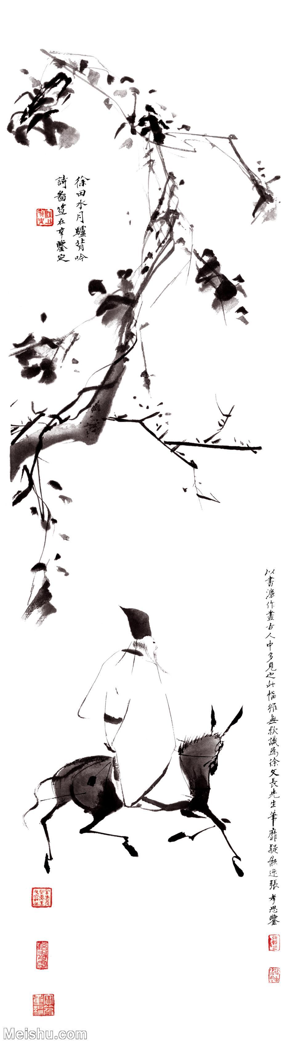 【超顶级】GH6085520古画树木植物-徐渭《驴背吟诗》立轴图片-439M-6133X20827.jpg