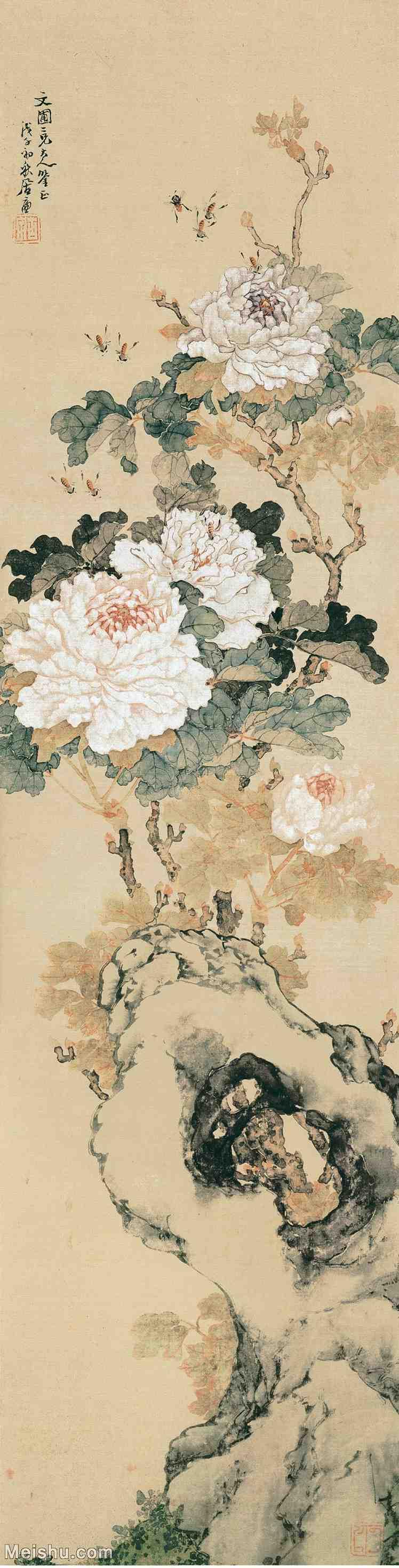 【印刷级】GH6155067古画立轴花鸟花卉清 居廉-花卉四屏之二纸本100x25.5图片-137M-3503X1373