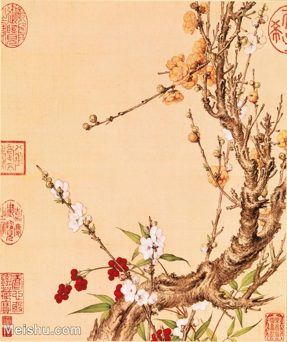 【印刷级】GH6101057古画-清意大利郎世宁-花卉综合版本-花鸟图册十开28x33 (13)册页图片-32M-307