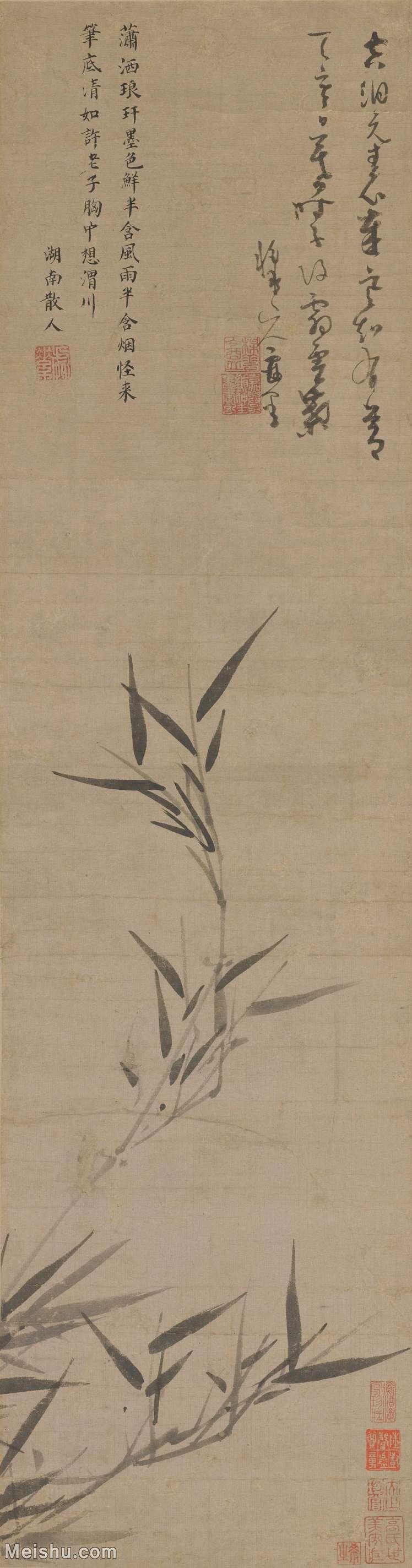 【超顶级】GH6085335古画树木植物-竹枝图-元-吴镇-纸本-30x114-80x304-水墨竹子立轴图片-526M