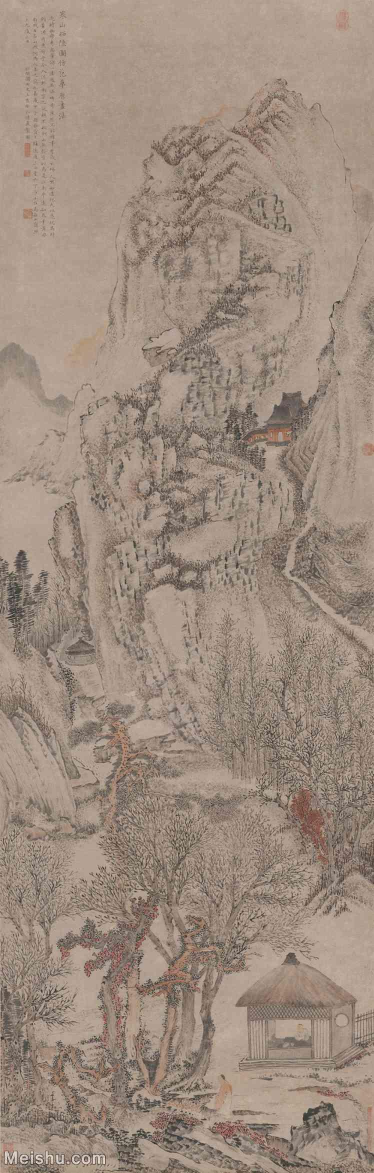 【超顶级】GH6088359古画山水风景寒山招隐图-清-金礼嬴-纸本-30x94-80x250.5-山径山路立轴图片-4