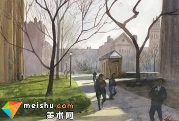 「水彩风景」耶鲁狭道-手绘帮